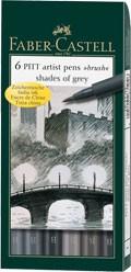 Popisovače Faber-Castell PITT Artist Pen Brush 6 ks, Shades of Grey
