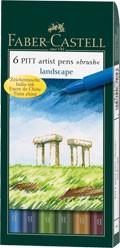 Popisovače Faber-Castell PITT Artist Pen Brush 6 ks, Landscape