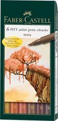 Popisovače Faber-Castell PITT Artist Pen Brush 6 ks, Terra