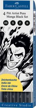 Popisovače Faber-Castell PITT Artist Pen Manga Black Set 4 ks