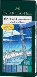 Popisovače Faber-Castell PITT Artist Pen Brush 6 ks, Shades of Blue