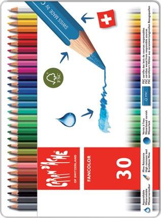 Akvarelové pastelky Caran d'Ache Fancolor, 30 barev