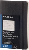 Diář Moleskine 2017, měsíční černý (S), MĚKKÁ vazba