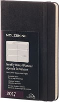 Diář Moleskine 2017, týdenní horizontální černý (S), TVRDÁ vazba