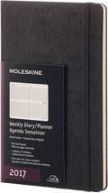 Diář Moleskine 2017, týdenní vertikální černý (L), TVRDÁ vazba