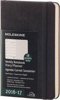 x-do vyprodání-Plánovací zápisník Moleskine 2016/17, 18 měsíců, (S) týdenní černý, TVRDÁ vazba
