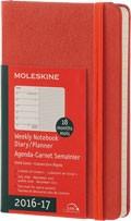 x-do vyprodání-Plánovací zápisník Moleskine 2016/17, 18 měsíců, (S) týdenní oranžový TVRDÁ vazba