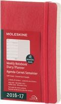 x-do vyprodání-Plánovací zápisník Moleskine 2016/17, 18 měsíců, (S) týdenní červený, MĚKKÁ vazba