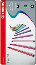 Sada fixů Stabilo Pen 68 - 10 ks v kovové etui